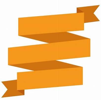 Ribbon Banner Orange Golden Clip Transprent Simple