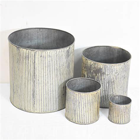 stackable set  vintage retro sheet small metal buckets