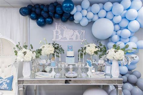 Kara's Party Ideas Silver & Blue Elephant Baby Shower