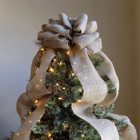 burlap christmas tree topper bow rustic topper shabby chic