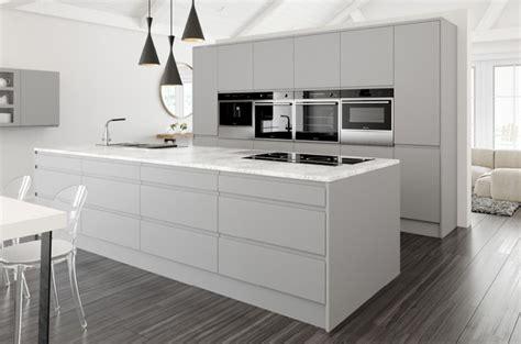 multi colour quartz complete kitchen units with handleless gloss grey doors