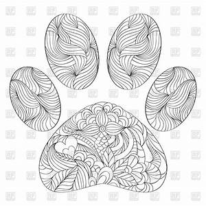 Abstract Animal Paw Print Coloring Page Royalty Free