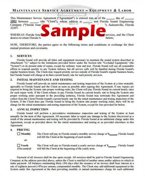 yearly contract samples templates
