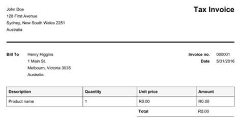 south africa invoice template   formtemplate