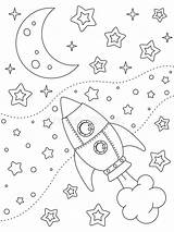 Coloring Moon Stars Rocket sketch template