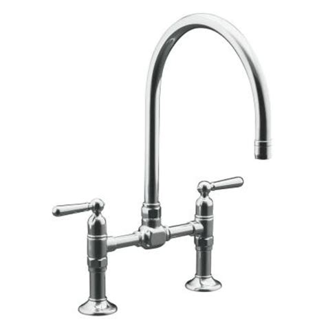 kohler hirise 2 handle bridge kitchen faucet in brushed