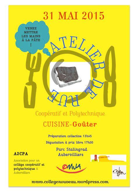 affiche atelier cuisine ateliers de rue rencontres réflexions pour un collège