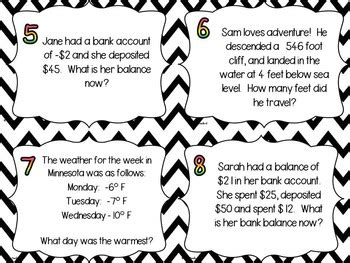 positive  negative integer word problem task cards