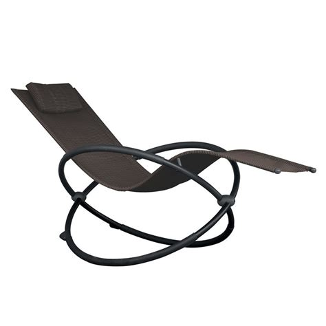 shop vivere orbital charcoal steel patio chaise lounge at