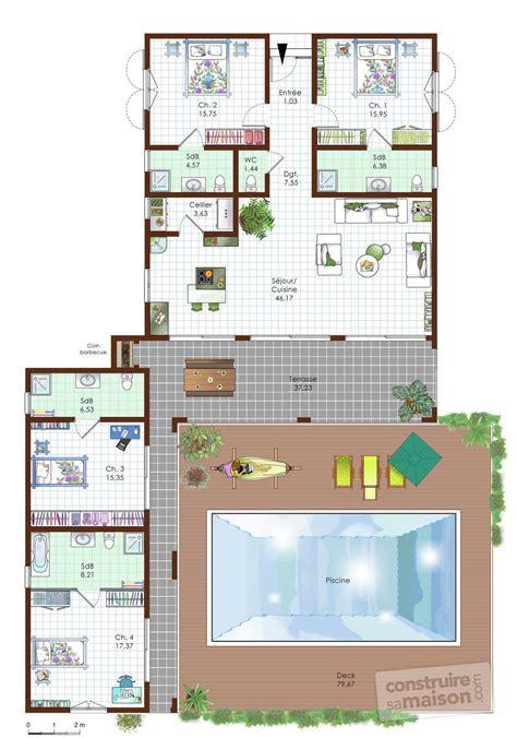 plan de maison avec cuisine ouverte best chambres etage amusant plan maison en l une maison de