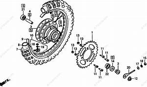 Honda Motorcycle 1988 Oem Parts Diagram For Rear Wheel