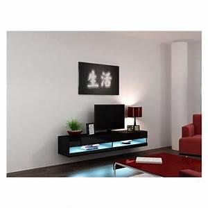 Meuble Tv Suspendu Led : meuble tv design suspendu larmo new noir achat vente meuble tv meuble tv larmo nr cdiscount ~ Melissatoandfro.com Idées de Décoration