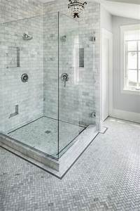 Carrara Marble Herringbone Bathroom - Traditional
