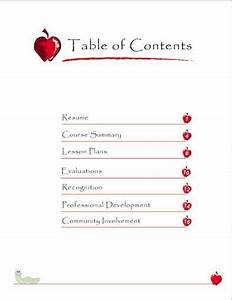 sample teacher portfolio table of contents preschool is With cda portfolio template