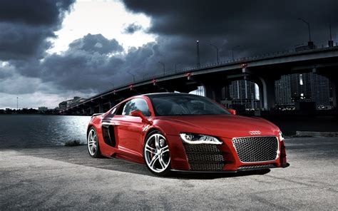 red audi   night hd wallpapers