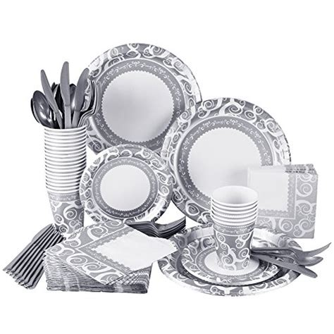 disposable dinnerware cutlery napkins cups plates elegant piece paper silver sets