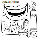 Hygiene Coloring Pages Dental Toothbrush Vector Drawing Tooth Mouth Outline Toothpaste Floss Personal Teeth Wash Brush Sheets Bitten Objects Apple sketch template