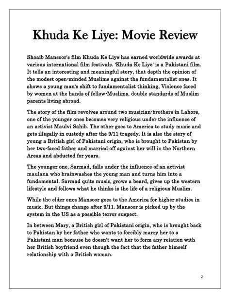 "Review Of Movie ""khuda Ke Liye"""