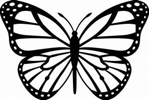 White Nice Monarch Butterfly Stencil Tattoo Design ...