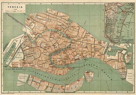 antique map  venice italy  wagner  debes circa
