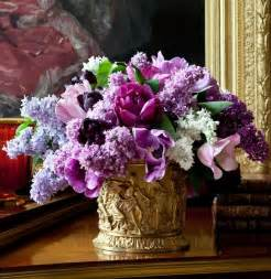 Purple and Gold Flower Arrangements