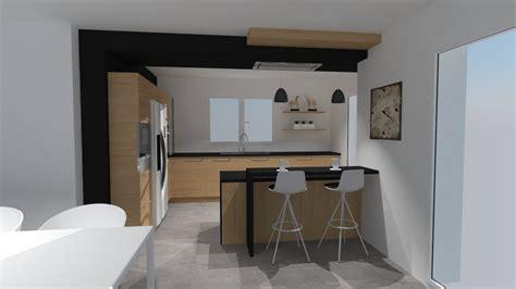 cuisine noir plan de travail bois cuisine bois et noir agrandir une cuisine bois et blanc