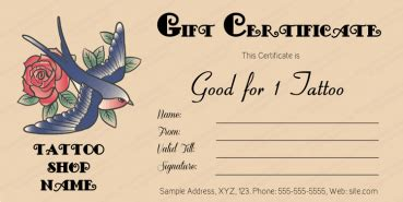 tattoo gift certificate templates  sample templates