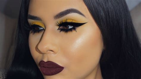 yellow eyeshadow  top  bottom lashes youtube