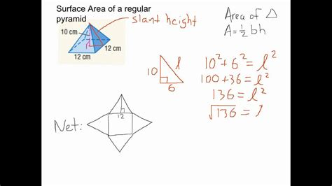 Surface Area Of Regular Pyramid Youtube