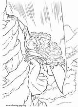 Brave Coloring Cliff Merida Movie Climbing Colouring Disney Pixar sketch template