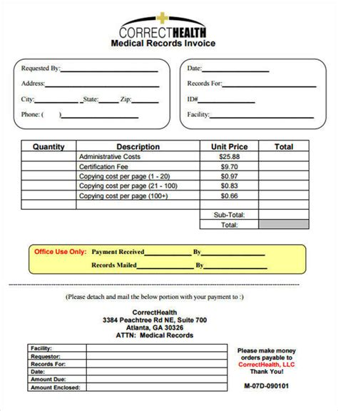 sample medical invoice  examples  word