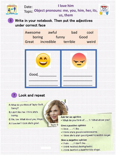 object pronouns         worksheet