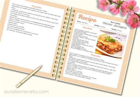 recipe template cook book   pattern editable