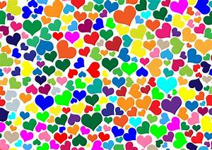 Clipart - Colorful Hearts Background