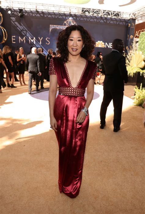 sandra oh mother sandra oh looks like a chic red envelope at the 2018 emmys