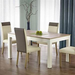 Table Salle A Manger Blanche Et Bois : table salle a manger 160 300 90 76cm bois blanc avec ~ Teatrodelosmanantiales.com Idées de Décoration