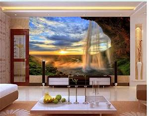 Online Get Cheap 3d Nature Waterfall Wall Murals ...