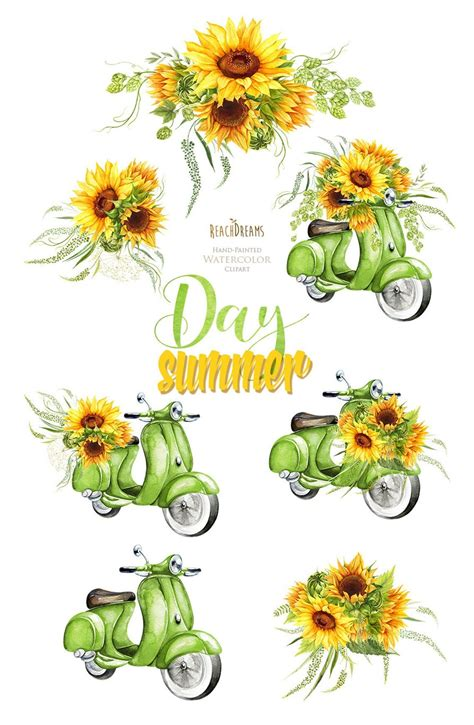 watercolor retro green moped floral bouquet sunflowers