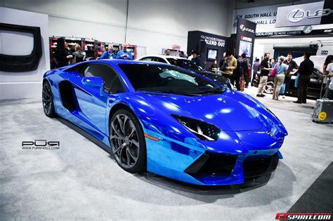 blue chrome lamborghini sema 2013 chrome blue lamborghini aventador on pur wheels