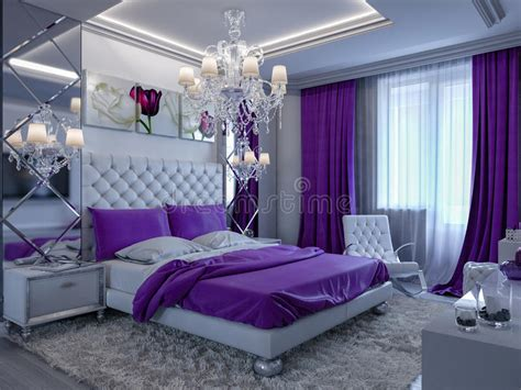 rendering bedroom  gray  white tones  purple