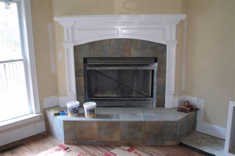 fireplace surround with a slate style porcelain tile