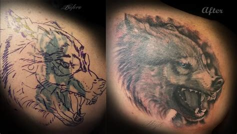 realistic wolf cover   haylo tattoos
