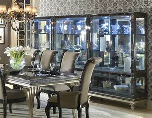 Hollywood Swank Dining Table In Black Silver Finish By