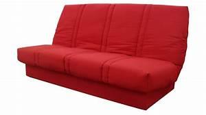 Banquette clic clac rouge avec matelas 130 x 190 cm clic for Tapis de course pas cher avec canapé 2 places 130 cm