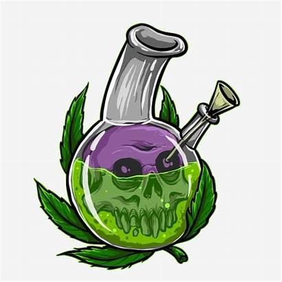 Skull Leaf Bong Marijuana Vector Illustration Dope