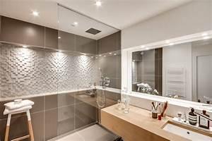 10 idees pour salles de bain moderne With porte de douche coulissante avec carrelage couleur salle de bain