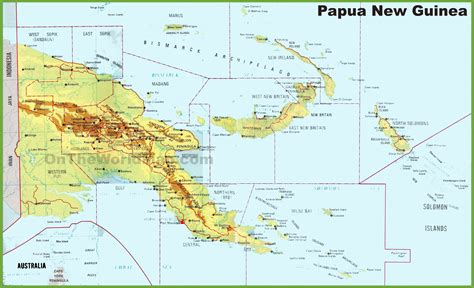 large detailed map  papua  guinea