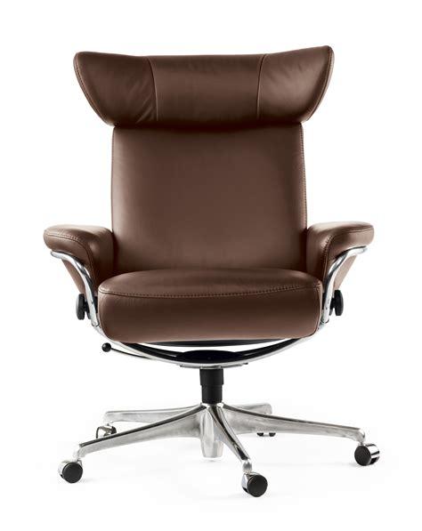 fauteuil de bureau cuir marron stressless