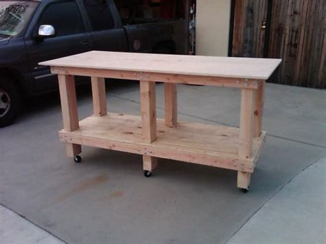 perfect solid wood work bench  heavy duty casters ebay