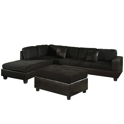 dallin sectional sofa and ottoman black left side